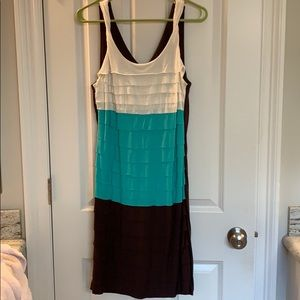 Allen B. Off white, teal, and brown dress
